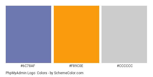 phpMyAdmin Logo - Color scheme palette thumbnail - #6c78af #f89c0e #cccccc