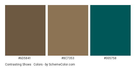 Contrasting Shoes & Socks - Color scheme palette thumbnail - #6d5841 #8c7353 #005758