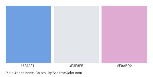 Plain Appearance - Color scheme palette thumbnail - #6fa0e1 #e3e6eb #e0abd2