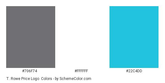 T. Rowe Price Logo - Color scheme palette thumbnail - #706f74 #ffffff #22c4dd