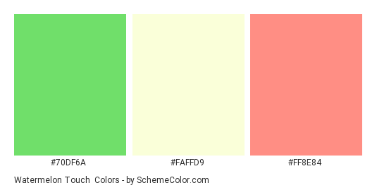 Watermelon Touch - Color scheme palette thumbnail - #70df6a #faffd9 #ff8e84