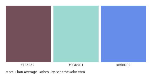 More than Average - Color scheme palette thumbnail - #735059 #9bd9d1 #658de9