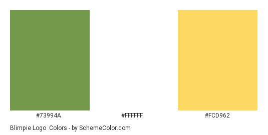 Blimpie Logo - Color scheme palette thumbnail - #73994a #ffffff #fcd962
