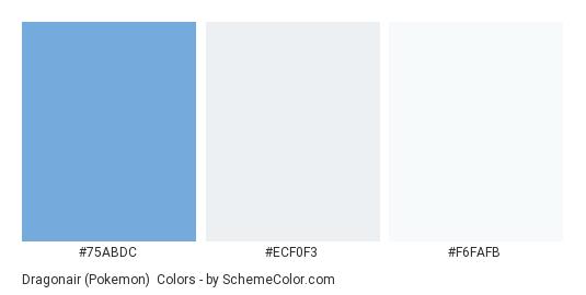 Dragonair (Pokemon) - Color scheme palette thumbnail - #75ABDC #ECF0F3 #F6FAFB