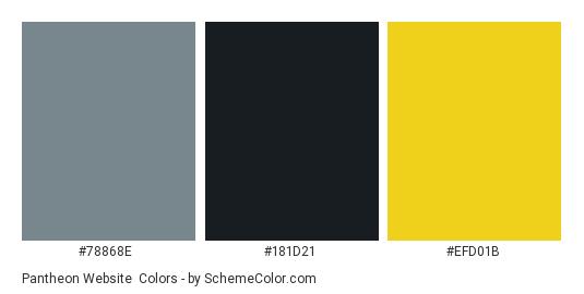 Pantheon Website - Color scheme palette thumbnail - #78868e #181d21 #efd01b