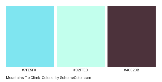 Mountains to Climb - Color scheme palette thumbnail - #7FE5F0 #C2FFED #4C323B