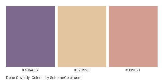 Done Covertly - Color scheme palette thumbnail - #7d6a8b #e2c59e #d39e91