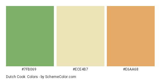 Dutch Cook - Color scheme palette thumbnail - #7fb069 #ece4b7 #e6aa68