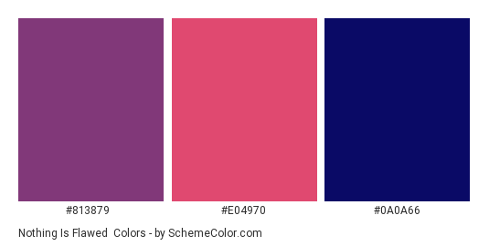 Nothing is Flawed - Color scheme palette thumbnail - #813879 #e04970 #0a0a66