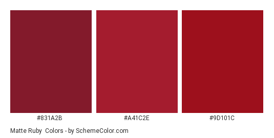 Matte Ruby - Color scheme palette thumbnail - #831a2b #a41c2e #9d101c