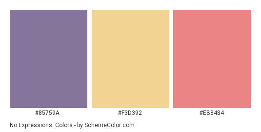 No Expressions - Color scheme palette thumbnail - #85759A #F3D392 #EB8484