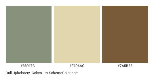 Dull Upholstery - Color scheme palette thumbnail - #88917b #e1d6ac #7a5b38
