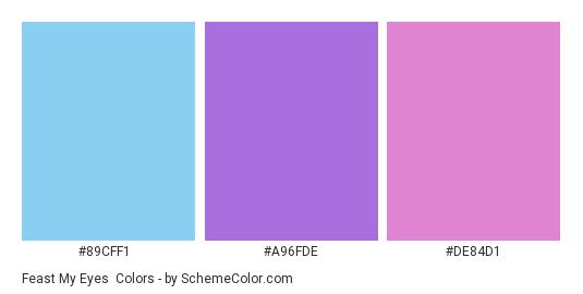 Feast My Eyes - Color scheme palette thumbnail - #89CFF1 #A96FDE #DE84D1