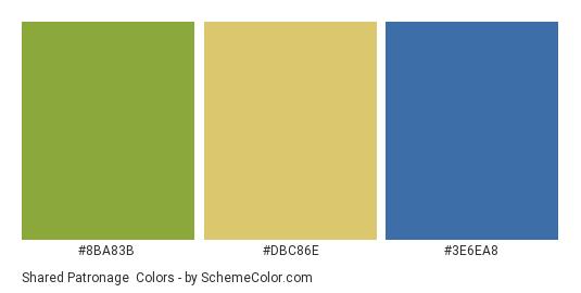Shared Patronage - Color scheme palette thumbnail - #8BA83B #DBC86E #3E6EA8