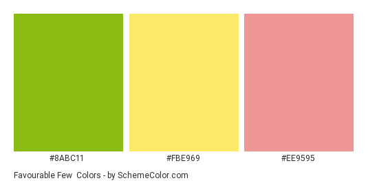 Favourable Few - Color scheme palette thumbnail - #8abc11 #fbe969 #ee9595