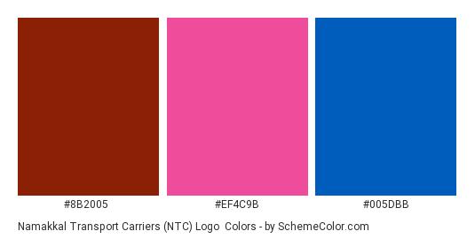 Namakkal Transport Carriers (NTC) Logo - Color scheme palette thumbnail - #8b2005 #ef4c9b #005dbb