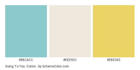 Going to You - Color scheme palette thumbnail - #8bcacc #eee9dc #ebd365