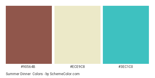 Summer Dinner - Color scheme palette thumbnail - #90564b #ece9c8 #3ec1c0