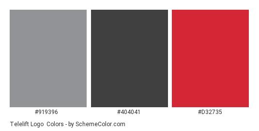 Telelift Logo - Color scheme palette thumbnail - #919396 #404041 #d32735