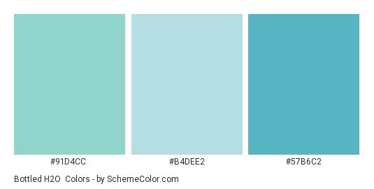 Bottled H2O - Color scheme palette thumbnail - #91d4cc #b4dee2 #57b6c2