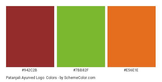Patanjali Ayurved Logo - Color scheme palette thumbnail - #942c2b #7bb82f #e56e1e