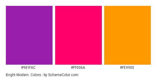 Bright Modern Color Scheme Palette Thumbnail 981fac Ff006a Fe9900