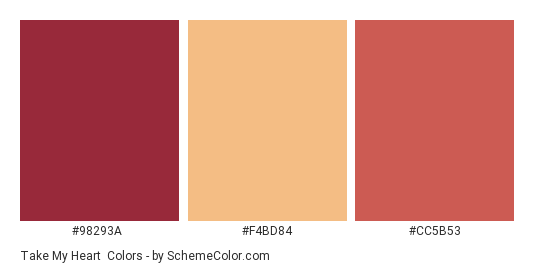 Take My Heart - Color scheme palette thumbnail - #98293a #f4bd84 #cc5b53
