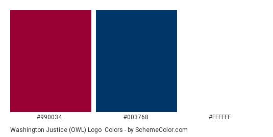 Washington Justice (OWL) Logo - Color scheme palette thumbnail - #990034 #003768 #FFFFFF