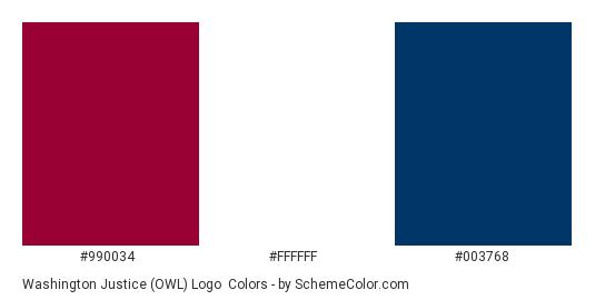 Washington Justice (OWL) Logo - Color scheme palette thumbnail - #990034 #FFFFFF #003768