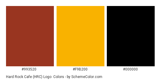 Hard Rock Cafe (HRC) Logo - Color scheme palette thumbnail - #993520 #f9b200 #000000