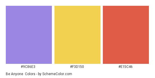 Be Anyone - Color scheme palette thumbnail - #9C86E3 #F3D150 #E15C46
