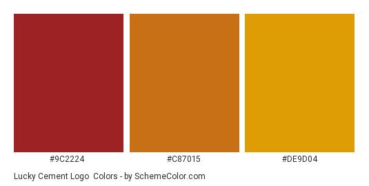 Lucky Cement Logo - Color scheme palette thumbnail - #9c2224 #c87015 #de9d04