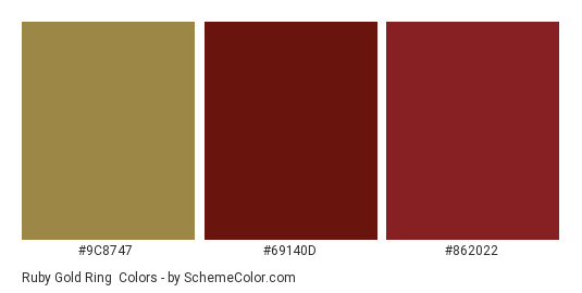 Ruby Gold Ring - Color scheme palette thumbnail - #9c8747 #69140d #862022