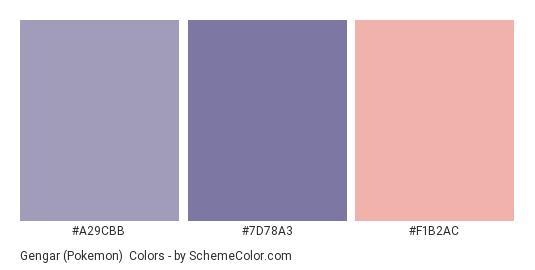 Gengar (Pokemon) - Color scheme palette thumbnail - #A29CBB #7D78A3 #F1B2AC