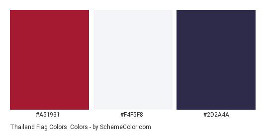 Thailand Flag Colors - Color scheme palette thumbnail - #A51931 #F4F5F8 #2D2A4A