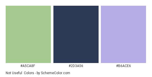 Not Useful - Color scheme palette thumbnail - #A5CA8F #2D3A56 #B6ACE6