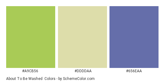 About to be Washed - Color scheme palette thumbnail - #A9CB56 #DDDDAA #656EAA