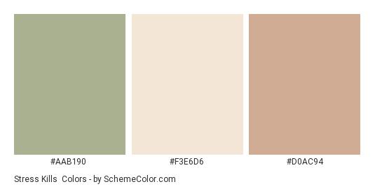 Stress Kills - Color scheme palette thumbnail - #AAB190 #F3E6D6 #D0AC94