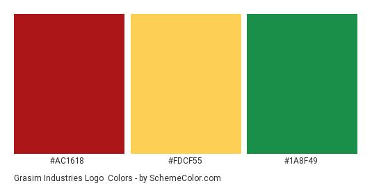 Grasim Industries Logo - Color scheme palette thumbnail - #AC1618 #FDCF55 #1A8F49