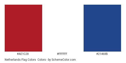 Netherlands Flag Colors - Color scheme palette thumbnail - #AE1C28 #FFFFFF #21468B