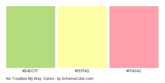No Troubles My Way - Color scheme palette thumbnail - #B4DC7F #FEFFA5 #FFA0AC