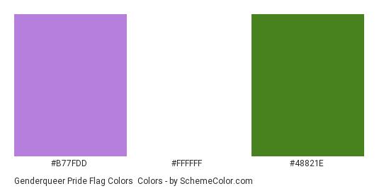 Genderqueer Pride Flag Colors - Color scheme palette thumbnail - #B77FDD #FFFFFF #48821E