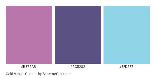 Cold Value - Color scheme palette thumbnail - #B876AB #5C5282 #8FD5E7
