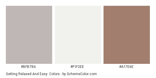 Getting Relaxed And Easy - Color scheme palette thumbnail - #BFB7B6 #F1F2EE #A17E6E
