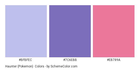 Haunter (Pokemon) - Color scheme palette thumbnail - #BFBFEC #7C6EBB #EB789A