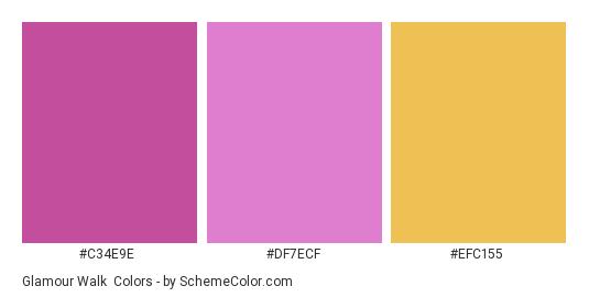 Glamour Walk - Color scheme palette thumbnail - #C34E9E #DF7ECF #EFC155