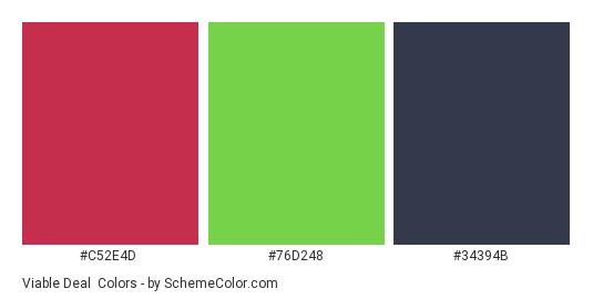 Viable Deal - Color scheme palette thumbnail - #C52E4D #76d248 #34394B