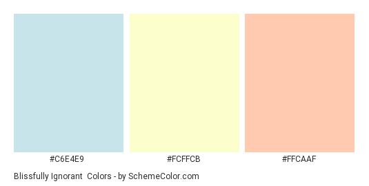 Blissfully Ignorant - Color scheme palette thumbnail - #C6E4E9 #FCFFCB #FFCAAF