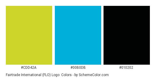 Fairtrade International (FLO) Logo - Color scheme palette thumbnail - #CDD42A #00B0DB #010202