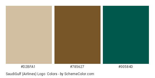 SaudiGulf (Airlines) Logo - Color scheme palette thumbnail - #D2BFA1 #785627 #00584D